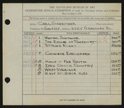 Entry card for Gaertner, Carl Frederick for the 1936 May Show.