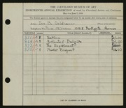 Entry card for Stone, Ivy Goldhamer for the 1936 May Show.