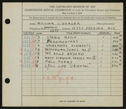Entry card for Grauer, William C. for the 1936 May Show.