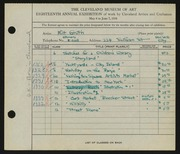 Entry card for Groth, Milt for the 1936 May Show.