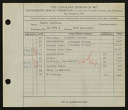 Entry card for Guilbeau, Honore for the 1936 May Show.