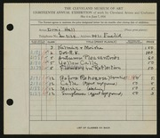 Entry card for Hall, Doris Elizabeth for the 1936 May Show.