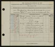 Entry card for Hitchings, Frederic Wade for the 1936 May Show.