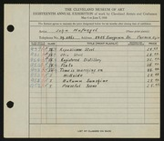 Entry card for Hufnagel, John for the 1936 May Show.