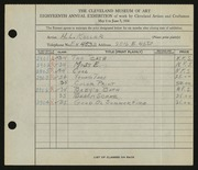 Entry card for Keller, Henry L. for the 1936 May Show.