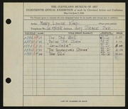 Entry card for King, Mary Louise for the 1936 May Show.