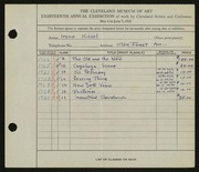 Entry card for Kissel, Irene  for the 1936 May Show.