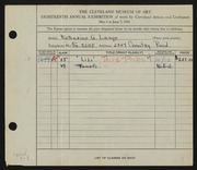 Entry card for Lange, Katharine Gruener for the 1936 May Show.