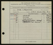Entry card for Laquatra, John for the 1936 May Show.