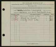 Entry card for Lawrence, Walter E. for the 1936 May Show.