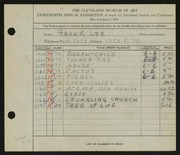Entry card for Lee, Frank for the 1936 May Show.