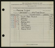 Entry card for Lueke, Matha for the 1936 May Show.