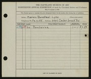 Entry card for Bonsteel, Marion E. for the 1936 May Show.