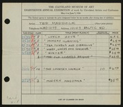 Entry card for Maddock, Ted for the 1936 May Show.