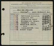 Entry card for McMillen, Dale for the 1936 May Show.