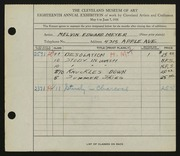 Entry card for Meyer, Melvin Edward for the 1936 May Show.