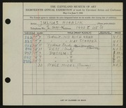 Entry card for Mihalik, Julius for the 1936 May Show.