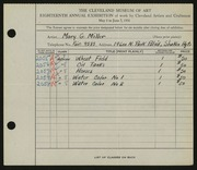 Entry card for Miller, Mary G. for the 1936 May Show.