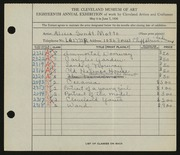 Entry card for Motts, Alicia Sundt for the 1936 May Show.