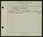 Entry card for Muzslay, Charlotte for the 1936 May Show.