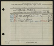 Entry card for Naukler, Henning for the 1936 May Show.