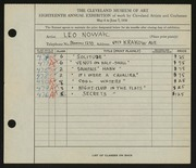 Entry card for Nowak, Leo for the 1936 May Show.