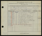 Entry card for Oppmann, Paul H. for the 1936 May Show.