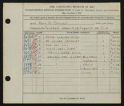 Entry card for Orner, Rose R. for the 1936 May Show.