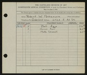 Entry card for Patterson, Robert W. for the 1936 May Show.