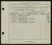 Entry card for Prusheck, Harvey Gregory for the 1936 May Show.