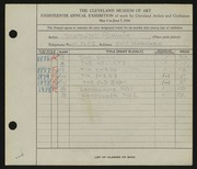 Entry card for Purwin, Sigmund Frank for the 1936 May Show.
