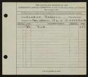 Entry card for Randall, Clarice for the 1936 May Show.