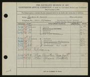 Entry card for Raymond, Mary E. for the 1936 May Show.