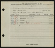 Entry card for Rebman, Herbert for the 1936 May Show.