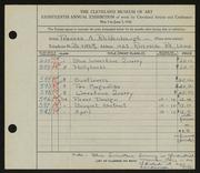 Entry card for Reidenbaugh, Frances for the 1936 May Show.