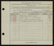 Entry card for Rhoades, M. R. for the 1936 May Show.