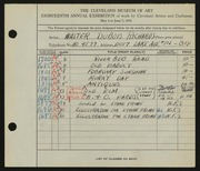 Entry card for Richards, Walter Dubois for the 1936 May Show.