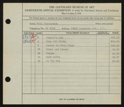 Entry card for Richardson, Bill for the 1936 May Show.