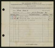 Entry card for Rosen, Rose for the 1936 May Show.