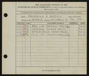 Entry card for Russell, Frederick K. for the 1936 May Show.