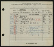 Entry card for Schmidt, Carl for the 1936 May Show.