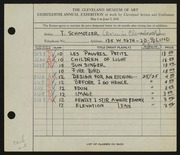 Entry card for Schmotzer, Therese A. for the 1936 May Show.