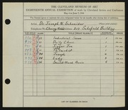 Entry card for Schneider, Dr. Joseph N. for the 1936 May Show.
