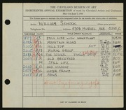 Entry card for Schock, William for the 1936 May Show.