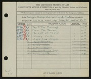 Entry card for Schrauf, Kathryn Bishop for the 1936 May Show.