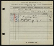 Entry card for Scott, Walter E. for the 1936 May Show.