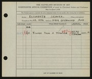 Entry card for Seaver, Elsbeth for the 1936 May Show.