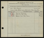 Entry card for Seaver, Gilbert H. for the 1936 May Show.