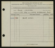 Entry card for Seaver, Hugh for the 1936 May Show.