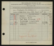 Entry card for Shannon, Charles for the 1936 May Show.